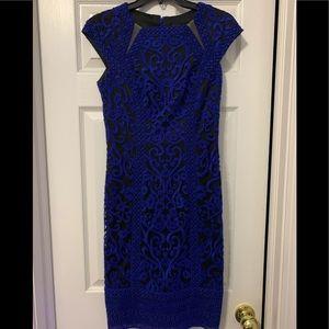 Tadashi Shoji royal blue embroidered dress